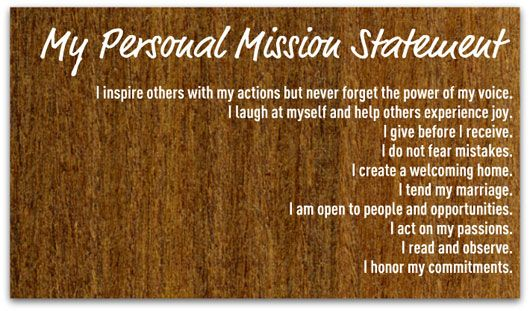 Personal Mission Statement Example