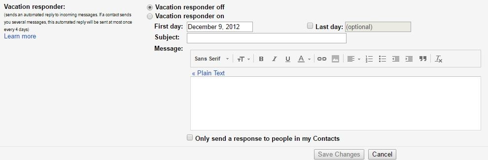 Vacation Responder Gmail